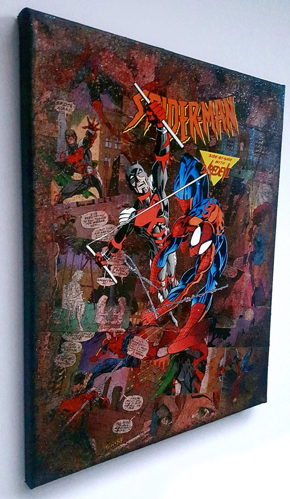 Spiderman daredevil team up premium marvel graphic canvas the avengers iron man wall art - Marvel comics decor ...